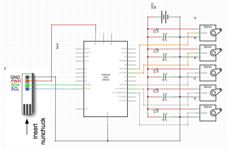 Schema elettronico 5 Servo